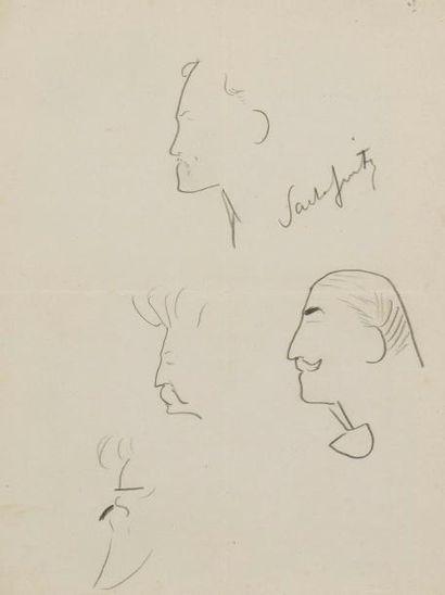 Sacha GUITRY Études de têtes Dessin crayon...