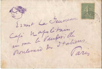 Sacha Guitry Enveloppe autographe avec dessin...