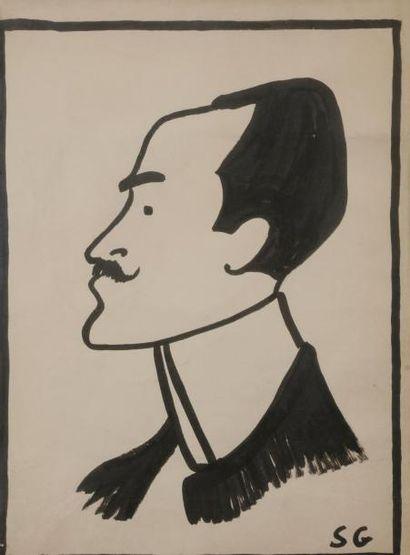 Sacha GUITRY Tête d'homme, [ca 1905?] Dessin...