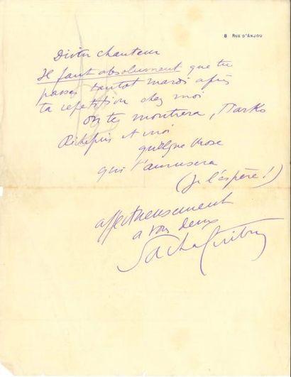 Sacha GUITRY 2 LAS, [1909?], à un ami chanteur;...