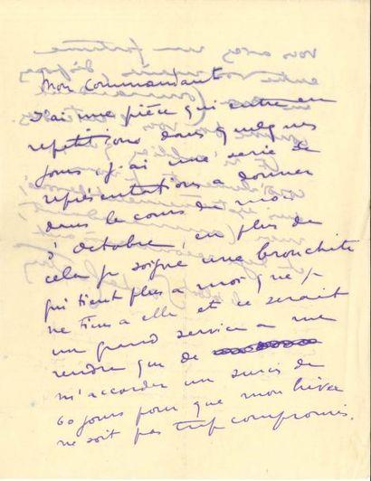 Sacha GUITRY LAS, [1909?], à un commandant;...