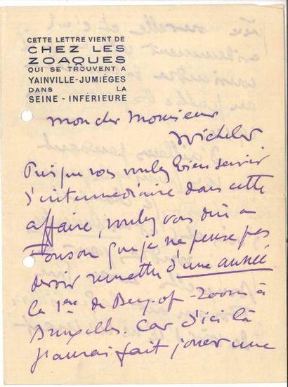 Sacha GUITRY LAS, [1913], à Michels; 3 pages...
