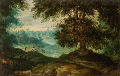 École de FRANKENTHAL vers 1600 Paysage Panneau...