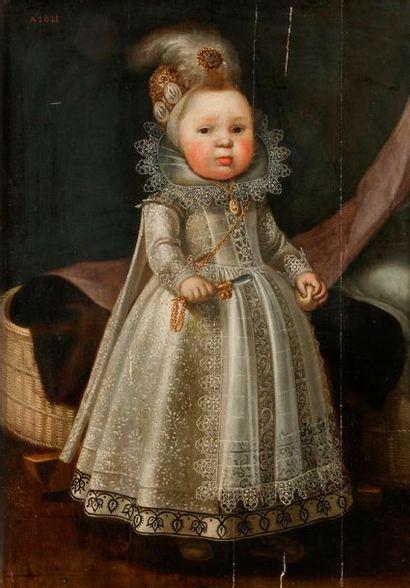 École HOLLANDAISE, 1621 Portrait d'enfant...