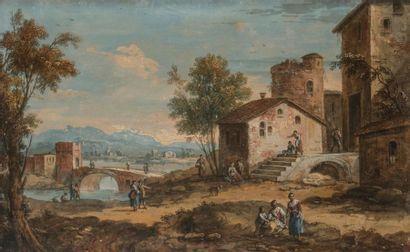 Attribué à Giuseppe ZAIS (1709 - 1784) Village...