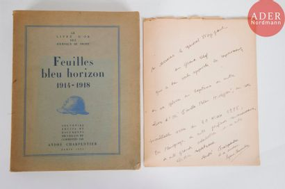 André CHARPENTIER Feuilles bleu horizon 1914-1918....