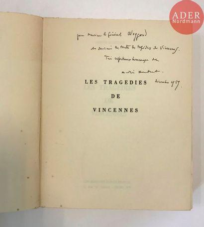 André HURTRET Les tragédies de Vincennes,...