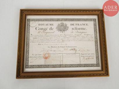 Congé de réforme au nom du maréchal des logis...
