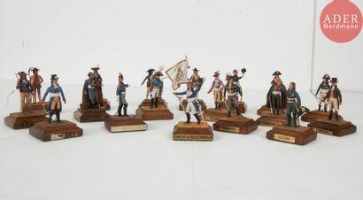 Ensemble de 18 figurines en plomb peint Les...