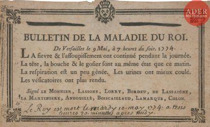 [LOUIS XV]. Bulletin de la maladie du roi....