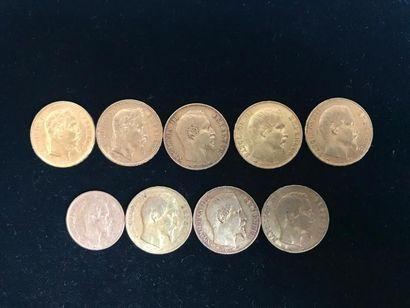 Lot de 9 pièces en or : - 8 pièces de 20...