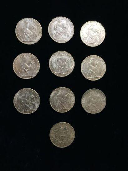 10 pièces de 20 Francs or : - 9 pièces Type...