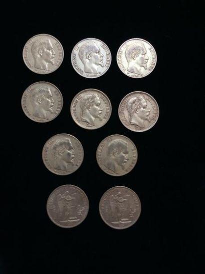 10 pièces de 20 Francs or : - 6 pièces Type...