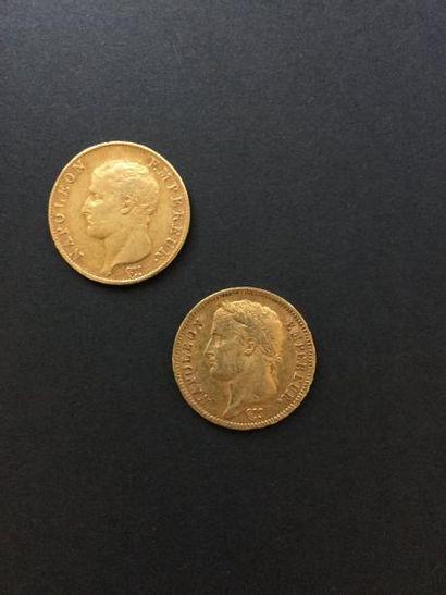 2 pièces de 40 Francs en or. - 1 pièce Type...