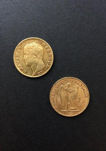 2 pièces de 20 Francs en or. - 1 pièce Type...