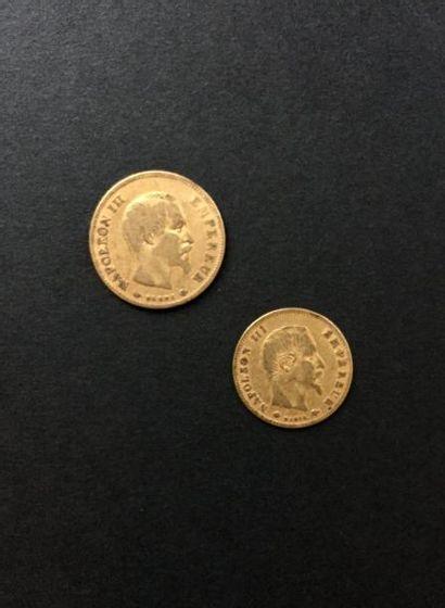 Lot de 2 pièces en or. France. - 1 pièce...