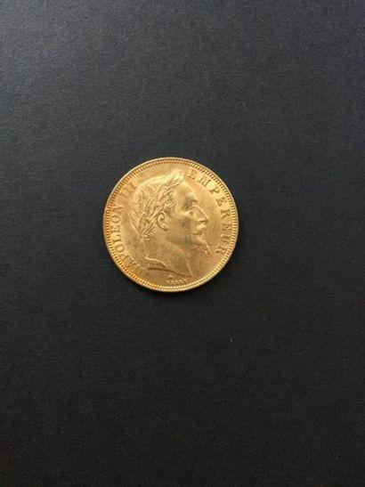 1 pièce de 50 Francs en or. 1866 Frais acheteur...