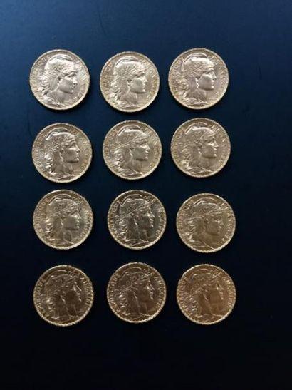 12 pièces 20 Francs en or. Type au Coq Frais...
