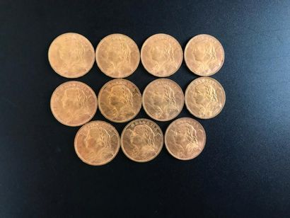 11 pièces de 20 Francs suisse. Type Helvetia...