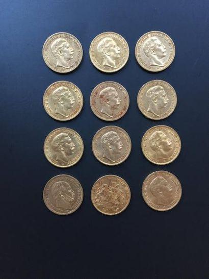 12 pièces de 20 Reichmark en or. - 10 pièces...