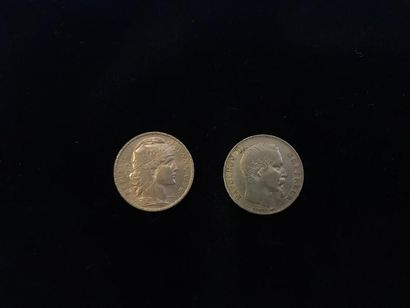 2 pièces de 20 Francs en or : - 1 Type Napoléon...