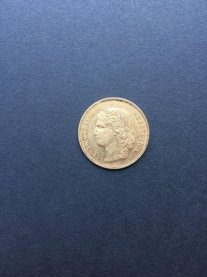 1 pièce 20 Francs suisse en or. 1896 Frais...