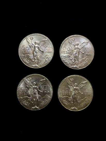 4 pièces de 50 Pesos en or. Frais acheteur...