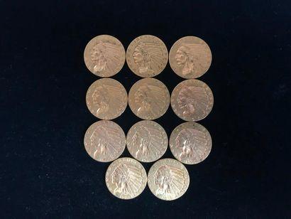 11 pièces de 5 Dollars en or. Type Tête d...