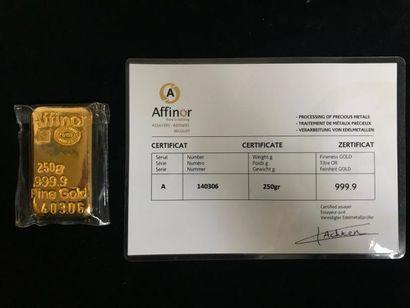 Lingotin or 250g numéroté 140306 avec certificat.....