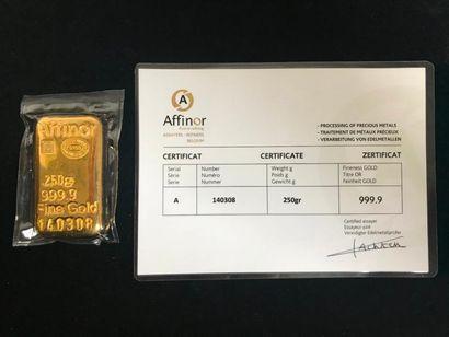 Lingotin or 250g numéroté 140308 avec certificat....