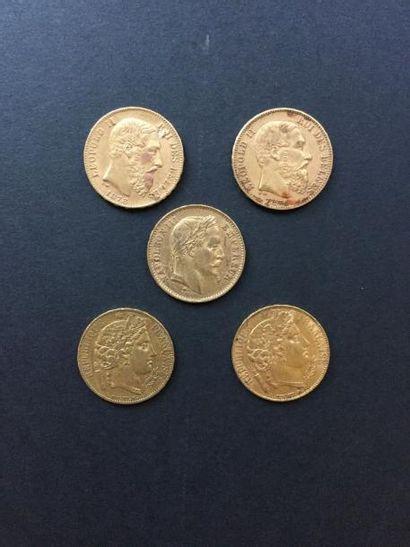 5 pièces de 20 Francs en or : - 1 Napoléon...