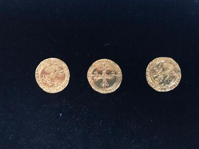 Lot de 3 pièces en or - Ecus d'or : - Louis...