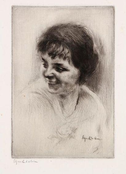 Edgar Chahine (1874-1947) La Rieuse. 1923. Pointe sèche. 148 x 220. T. 384. Belle...