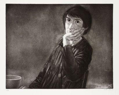 Michel Ciry (né en 1919) Emmaüs. 1975. Eau-forte, pointe sèche et aquatinte. 490...
