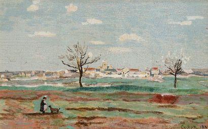 Jean-Baptiste-Camille Corot (d'après) Paysage animé. Vers 1950. Procédé Aeply d'après...