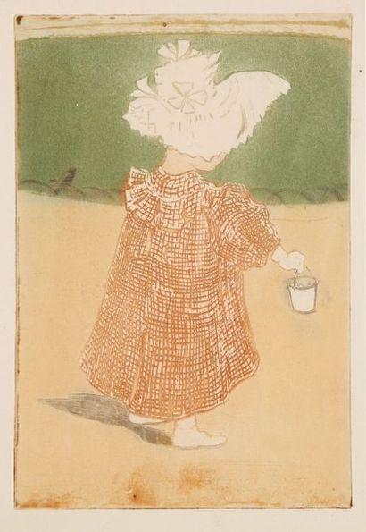 Eugène Delâtre (1854-1939) Fillette au seau. 1900. Eau-forte et aquatinte. 155 x...