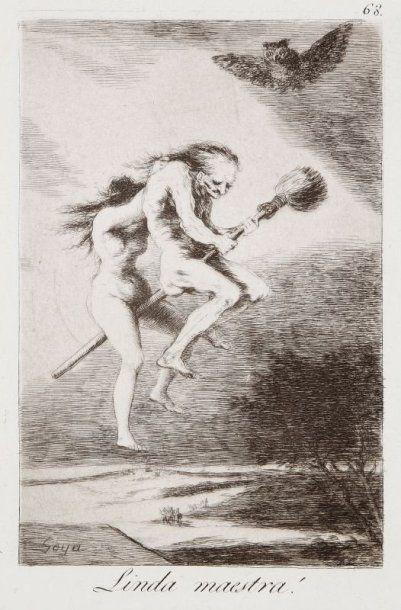 Francisco de Goya y Lucientes (1746-1828) Linda maestra ! (Los Caprichos, pl. 68)....