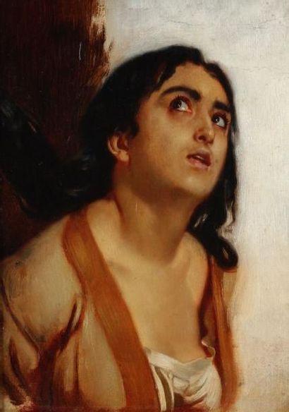 DEHODENCQ Alfred (1822-1882) Portrait de Sol Hatchuel Huile sur carton. Cachet de...