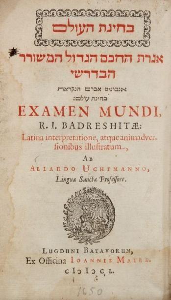 BEDERSI Iedaiah ben Abraham Hapenini(vers 1270-1340)