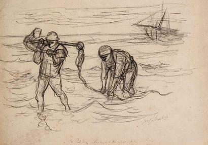 ISRAELS Jozef (1824-1911) Marins halant une barque Dessin au crayon sur papier. Signé...