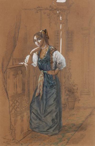 LAURET Emmanuel Joseph, dit l'aîné (1809-1892) Jeune juive d'Alger Aquarelle et gouache...