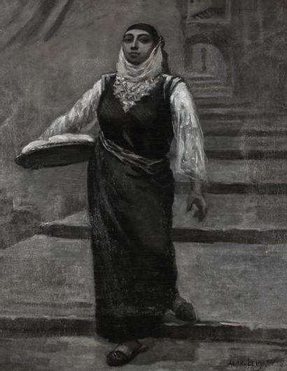 LEVY Alphonse (1843-1918) Jeune femme descendant les escaliers de la casbah d'Alger...