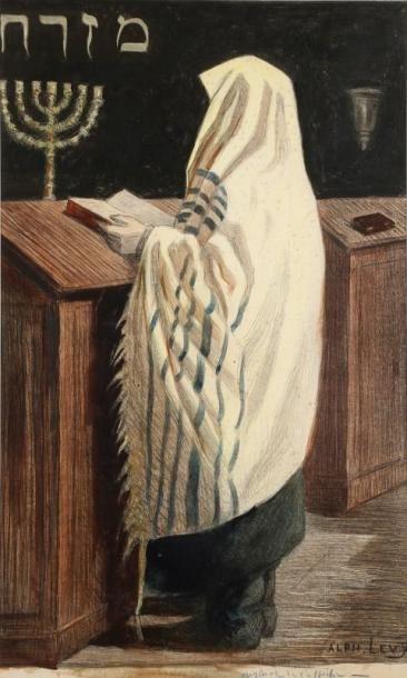 LEVY Alphonse (1843-1918) Juif en prières tourné vers l'Est Gouache et crayons de...