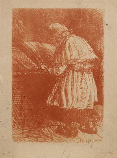 LEVY Alphonse (1843-1948) Juif en prières, de dos Lithographie tirée en sanguine,...