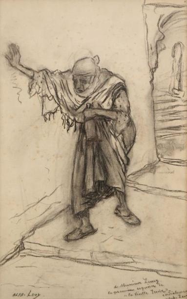 LEVY Alphonse (1843-1918) La vieille juive Dessin au fusain sur papier. Signé en...