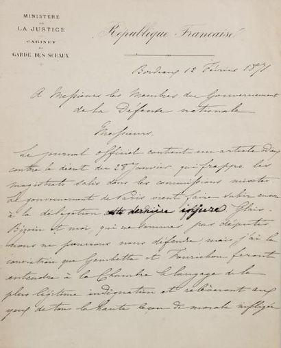 MANUSCRIT - CRÉMIEUX Adolphe - Minute de lettre signée avec corrections autographes...