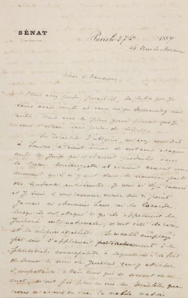 MANUSCRIT - NAQUET Alfred (1834-1916) - Lettre...