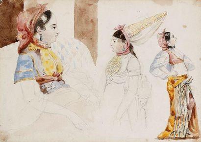 [ANONYME] Juives d'Alger Aquarelle sur traits de crayon, sur papier, collée sur carton,...