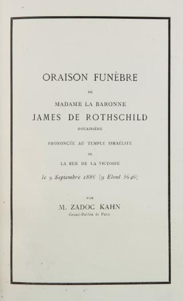 [ROTHSCHILD Baronne James de] ZADOC KAHN, Grand Rabbin de Paris - Oraison funèbre...