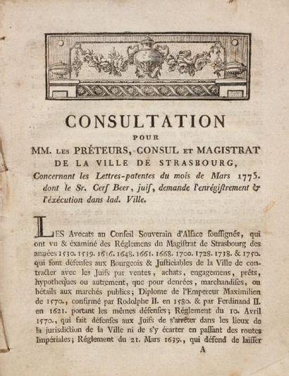 [STRASBOURG] Consultation pour MM. Les Préteurs, consul et magistrat de la ville...